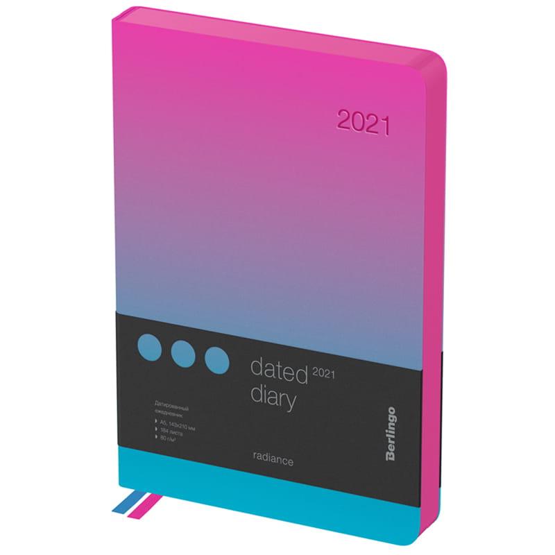 """Ежедневник датированный 2021г, А5, 184л, кожзам, синий/розовый градиент """"Radiance"""" (Berlingo)"""