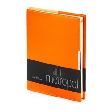 """Ежедневник недатированный А5, 136л, кожзам, оранжевый, крем. блок """"METROPOL"""" (Bruno Visconti)"""