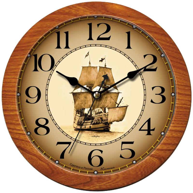 """Часы настенные, круг, светло-коричневая рамка, 29х29х3,5см  """"Корабль"""" (Камелия)"""