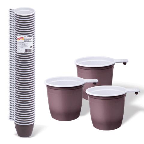 Комплект одноразовых чашек д/для чая и кофе (50шт) 0,2л, бело-коричневые, ПП (ЛАЙМА)