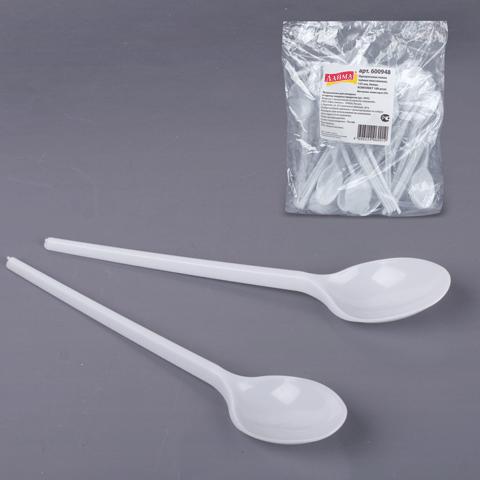 Комплект ложек чайных (100шт), пластиковые, 125мм, белые (ЛАЙМА)