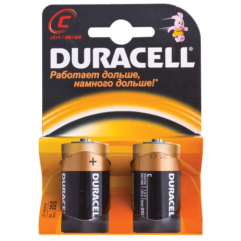 Батарейка C LR14, 1.5В, щелочная 2шт/уп (DURACELL)