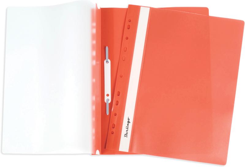 Скоросшиватель пластиковый с прозрачным верхом, с перфорацией, оранжевый 10шт/уп (Berlingo)