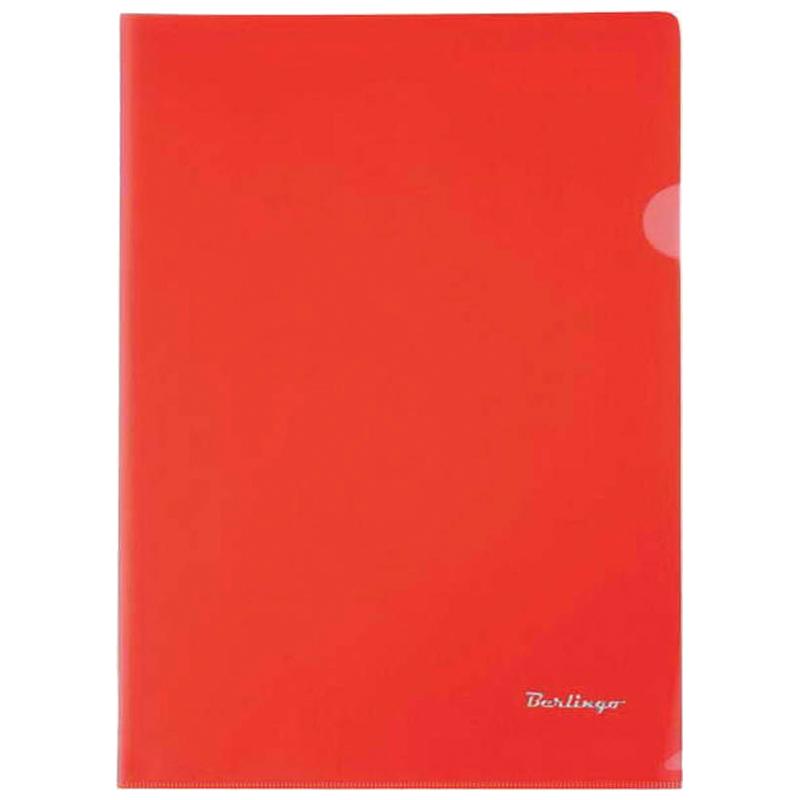 Папка-уголок А4, прозрачная красная, 180мкм, 20шт/уп (Berlingo)