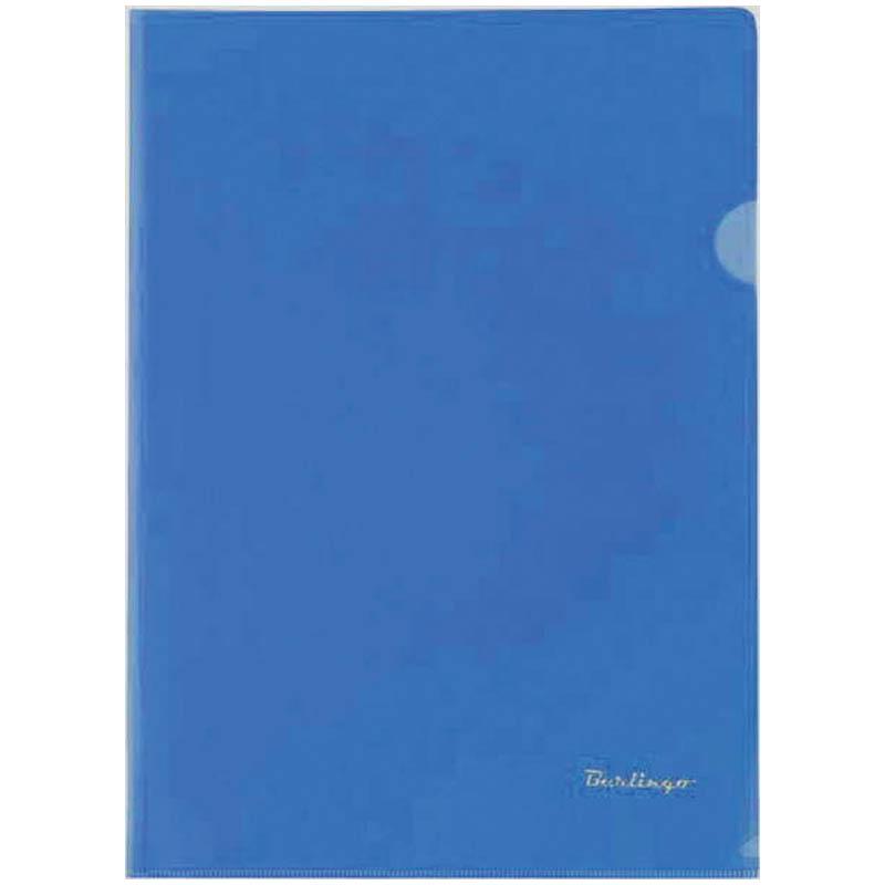 Папка-уголок А4, прозрачная, синяя, 180мкм, 20шт/уп (Berlingo)