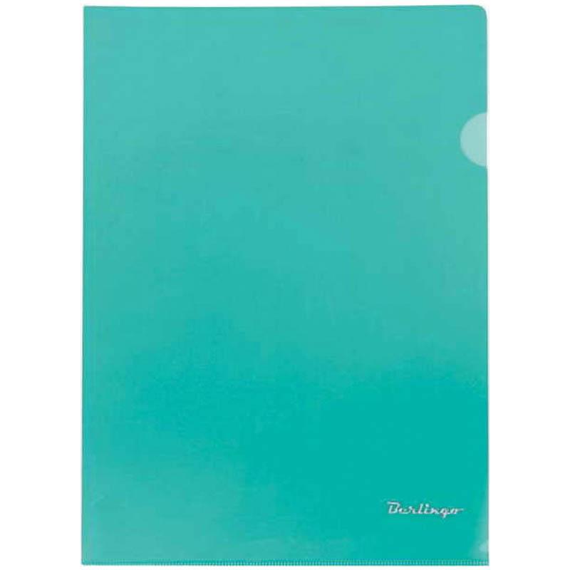 Папка-уголок А4, прозрачная зеленая, 180мкм, 20шт/уп (Berlingo)