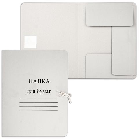 Папка д/бумаг с завязками 280г/м2, картон, белая  (200шт/уп)