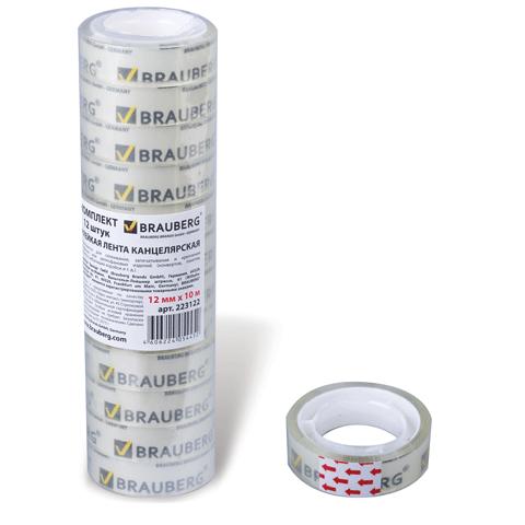 Скотч канцелярский 12х10м, прозрачный 12 шт/сп (BRAUBERG)