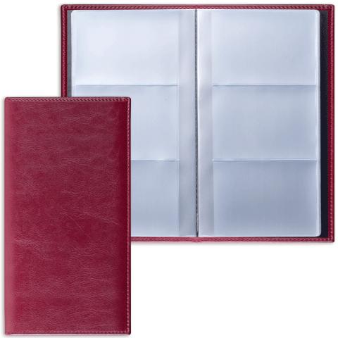 "Визитница на 144 визитки, бордовая, гладкая кожа (132х204мм) ""Imperial"" (BRAUBERG)"