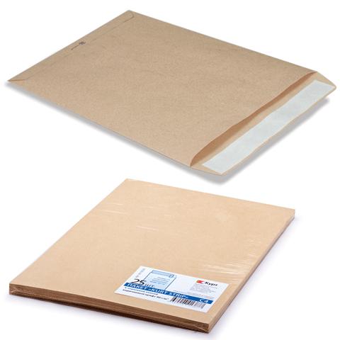 Конверт-пакет плоский (229х324мм), отрывная полоса, крафт-бумага, КОРИЧН, на 90л,Курт