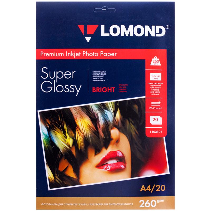 Фотобумага А4, 260гр, 20л, супергл, д/струйных принтеров (LOMOND)
