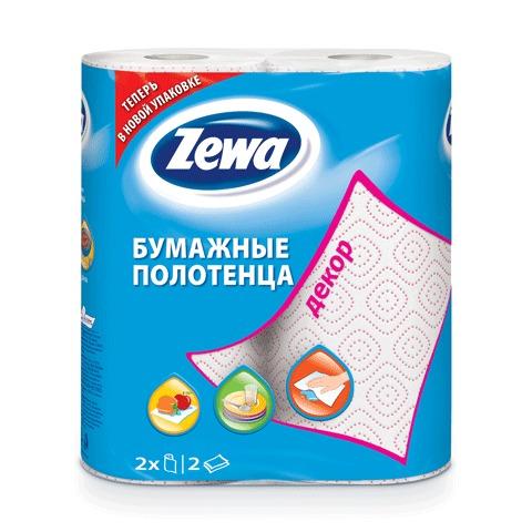 Полотенце бумажное ZEWA Декор (2шт) 2-х слойное, .х15м, белое