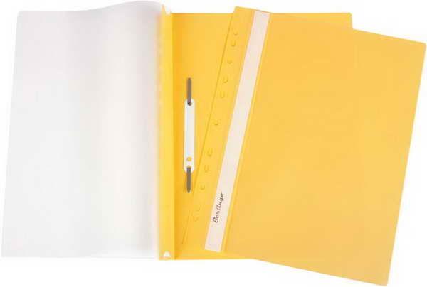 Скоросшиватель пластиковый с прозрачным верхом, А4, с перфорацией, желтый 10шт/уп (Berlingo)