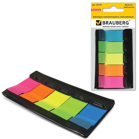 Закладки 48х20мм, пластиковые, 5цв.х20л, в диспенсере (BRAUBERG)