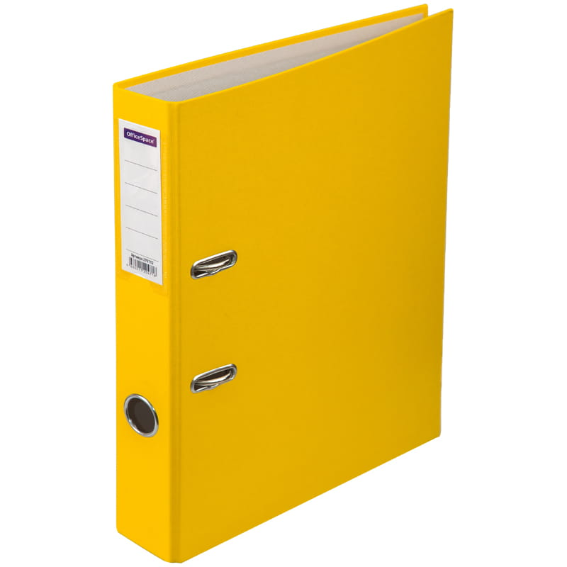Пaпкa-регистратор 50мм, желтая, бумвинил, с карманом на корешке 10шт/кор (OfficeSpace)