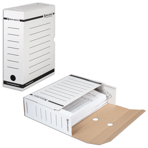 Короб архивный 100мм, МГК, с вырубным замком, белый, до 900 листов (BRAUBERG)