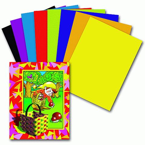 """Цветная бумага А4, 8 цветов, 16листов """"Гномик- грибник"""" 100шт/уп (ПИФАГОР )"""