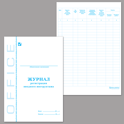 Журнал регистрации вводного инструктажа, 48л, А4 (198х278мм), картон, офсет 10шт/уп (BRAUBERG)