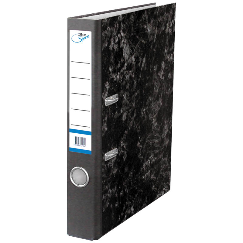 Пaпкa-регистратор 50мм, мрамор, черная 10шт/уп (OfficeSpace)