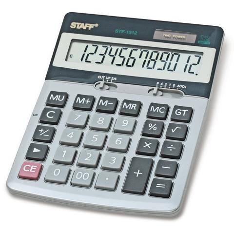 Калькулятор настольный 12 разрядов, двойное питание, металлический 170х125мм (STAFF)