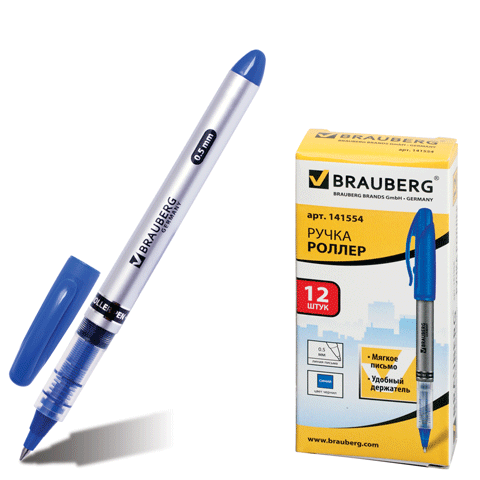 Роллер синий, 0,5мм, корпус серебристый 12шт/уп (BRAUBERG)