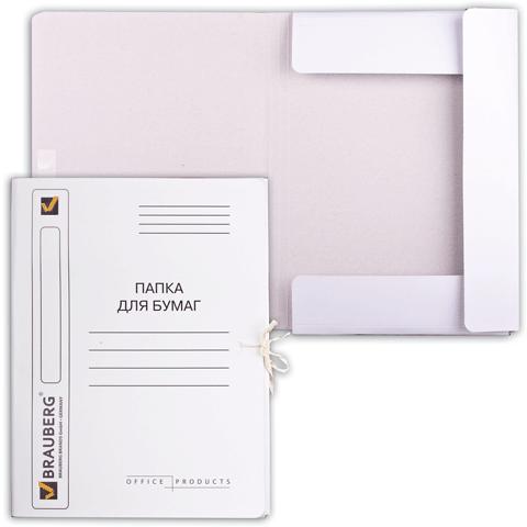 Папка д/бумаг с завязками 320гр/м2, мелованная, белая 150шт/кор, 25шт/уп (BRAUBERG)