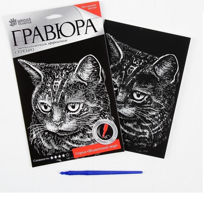 """Гравюра """"Британская кошка"""" с металлическим эффектом серебра, А5"""
