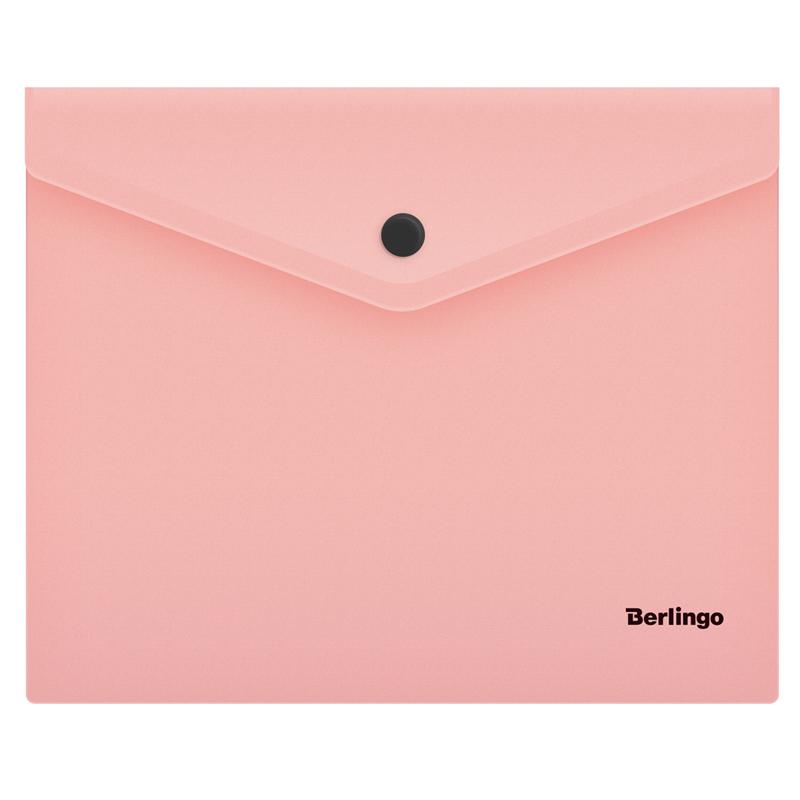 """Папка-конверт на кнопке А5+, фламинго, 180мкм, """"Instinct"""" 10шт/уп (Berlingo)"""