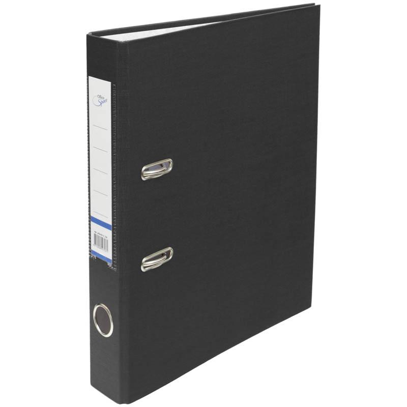 Пaпкa-регистратор 50мм, черная  бумвинил, с карманом на корешке 10шт/кор (OfficeSpace)