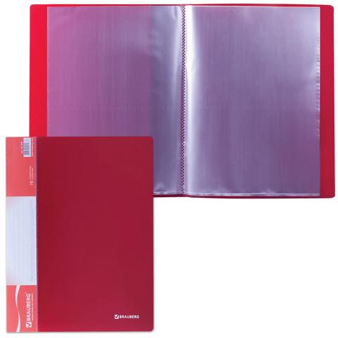 """Папка на 10 файлов, красная, карман на корешке, 0,5мм """"Стандарт"""" (BRAUBERG)"""