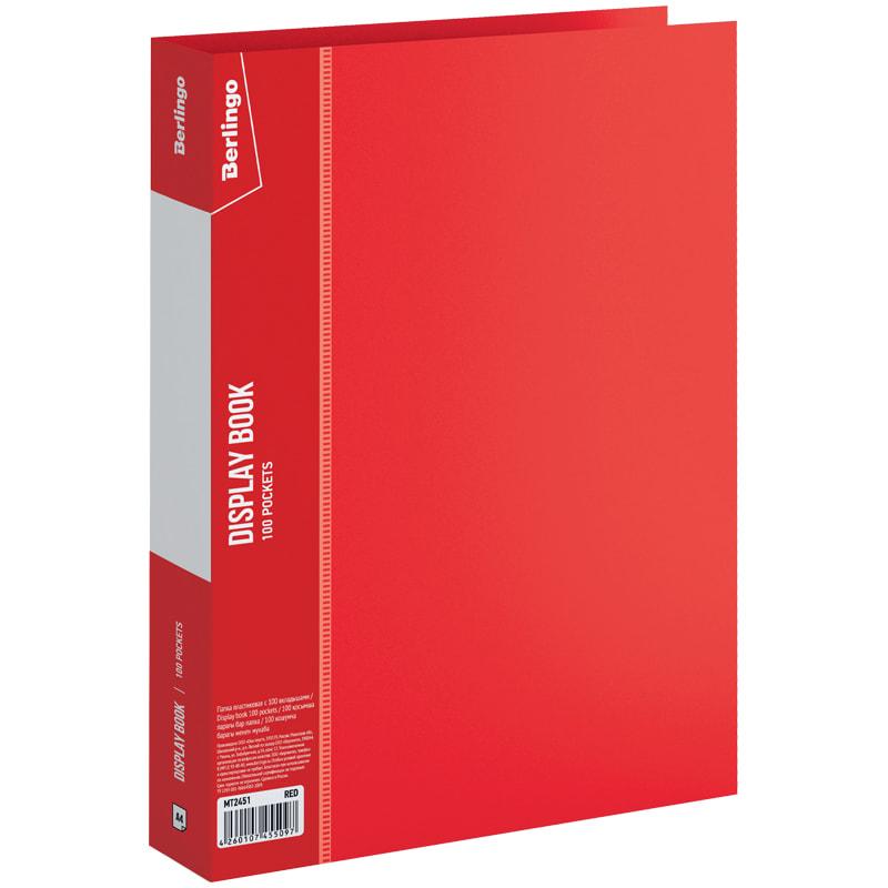 """Папка на 100 файлов, красная, торцевой карман, 40мм, 800мкм """"Standard"""" (Berlingo)"""