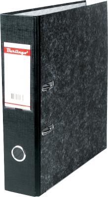 Папка-регистратор 70мм, мрамор, черная, с карманом на корешке, нижний кант 20шт/уп (Berlingo)