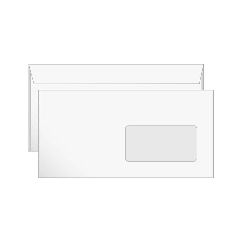 Конверт Е65 (110х220) белый, правое окно, отрывная лента 1000шт/уп (1121)