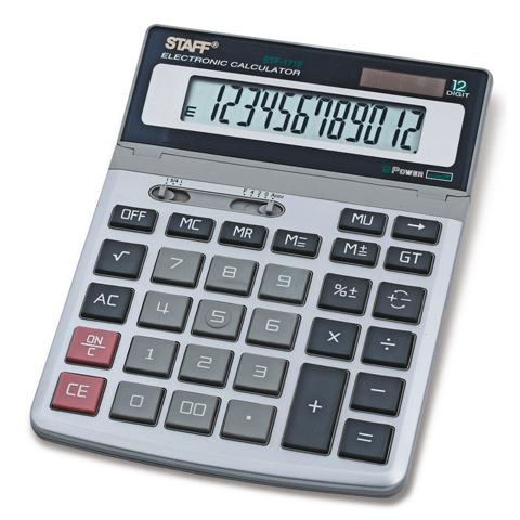 Калькулятор настольный 12 разрядов, двойное питание, 200х152мм, металлический STF-1712 (STAFF)