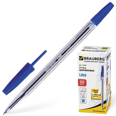"Ручка шариковая синяя, 1мм, корпус прозрачный ""Line"" 50шт/уп (BRAUBERG)"