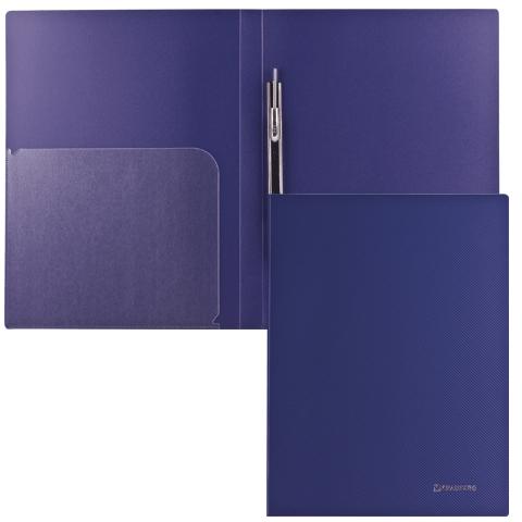 """Папка-скоросшиватель А4, т-синяя, внутренный карман, 0,6мм """"Диагональ"""" (BRAUBERG)"""