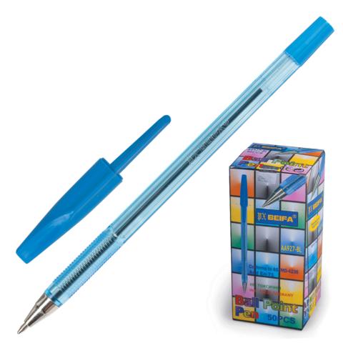 Ручка шариковая синяя, 0,5мм, прозрачный корпус 50шт/уп (Beifa)