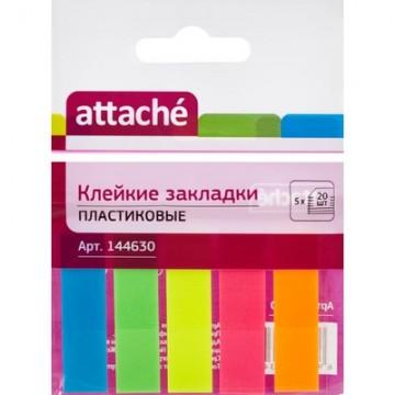 Закладки 45х12мм, пластиковые, 5цв.х20л (Attache)