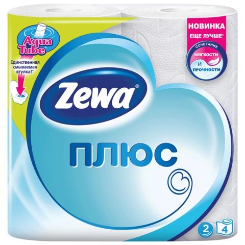 Бумага туалетная ZEWA Plus 2-х слойная, спайка 4шт.х26м, белая, 144051, ш/к 03308