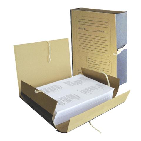 Папка архивная 80мм, крафт, корешок бумвинил, на 4х завязках (НотексПлюс)