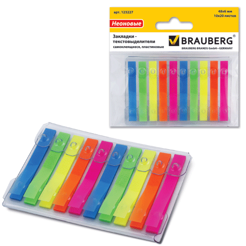 Закладки 48х6мм, пластиковые, 10цв.х20л (BRAUBERG)