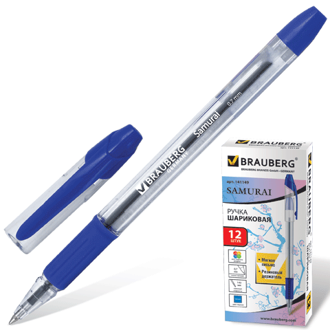 "Ручка шариковая синяя, 0,7мм, грип ""Samurai"" 12шт/уп (BRAUBERG)"