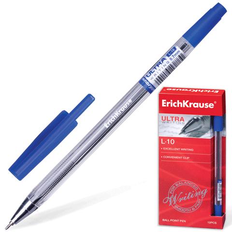 """Ручка масляная синяя, 0,7мм, игольчатая """"ULTRA L-10"""" 12шт/уп (Erich Krause)"""