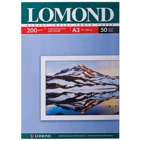 Фотобумага А3, 200гр, 50л глянцевая, односторонняя, д/струйных принтеров (LOMOND)