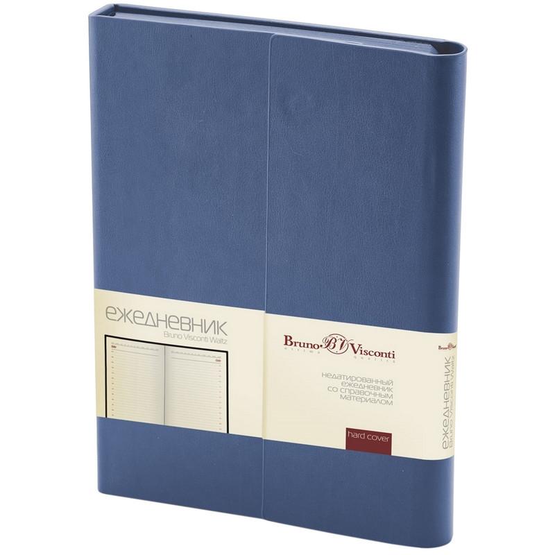 """Ежедневник недатированный А5, 176 листов, с магнитным клапаном, синий """"WALTZ"""" (Bruno Visconti)"""