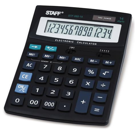 Калькулятор настольный 14 разрядов, двойное питание 200х150мм (STAFF)