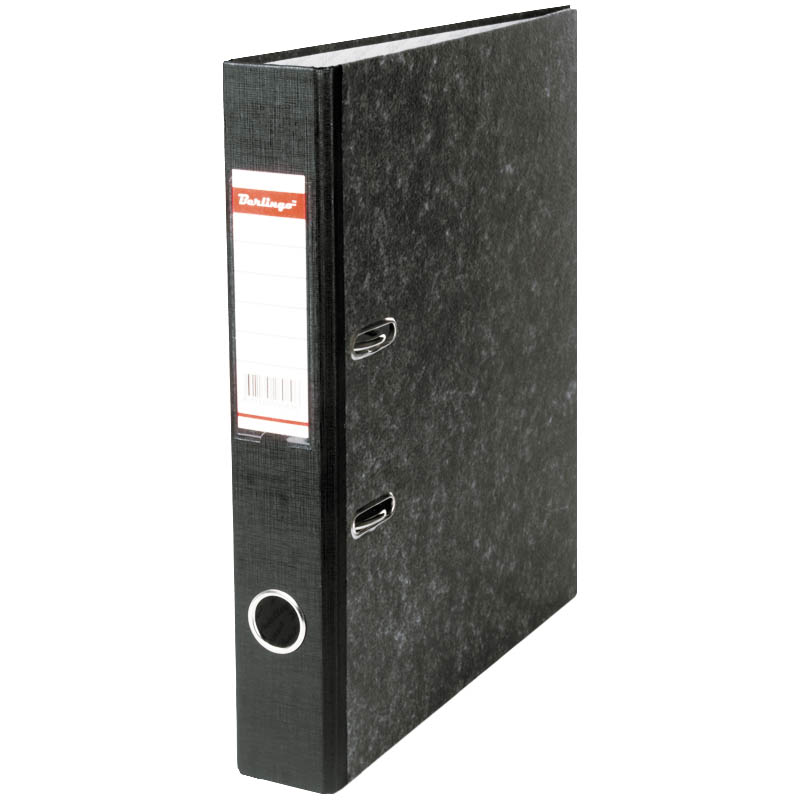 Папка-регистратор 50мм, мрамор, черная, карман на корешке, нижний метал. кант (Berlingo)