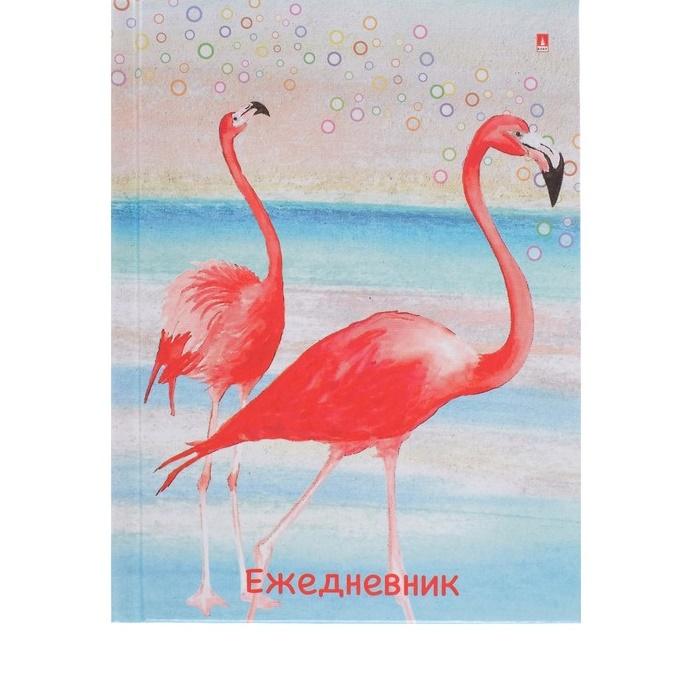 """Ежедневник недатир., А6, 128л, клетка, твёрдая обложка, глянцевая ламинация """"Фламинго"""""""