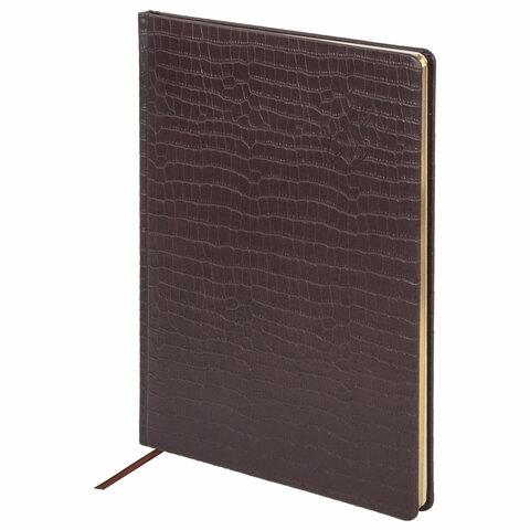 """Еженедельник датированный 2021 А4 (210х297 мм), кожзам, коричневый """"Comodo"""" (BRAUBERG)"""