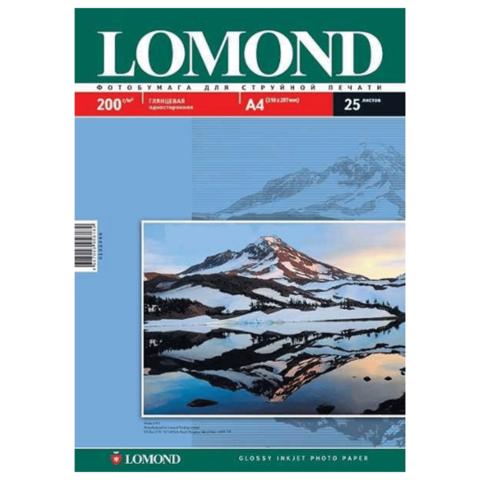 Фотобумага А4, 200гр, 25л, глянцевая, односторонняя, д/струйных принтеров (LOMOND)
